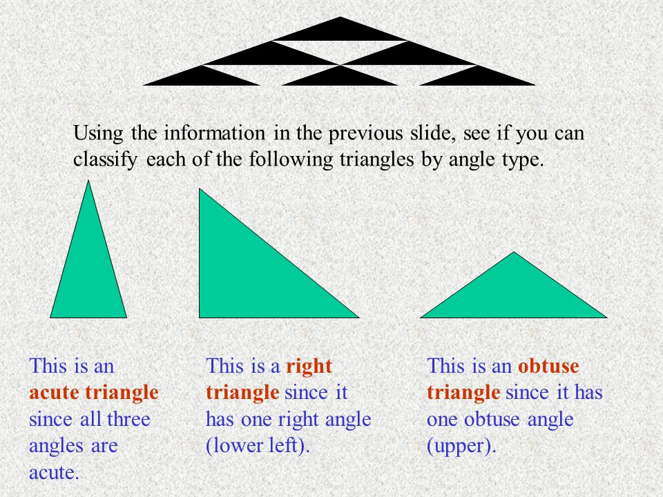 Using the information in the previous slide, see if you can classify each of the following triangles by angle type.