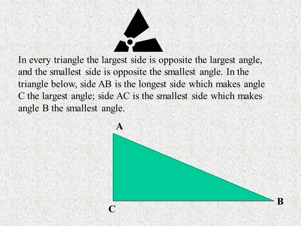 In every triangle the largest side is opposite the largest angle, and the smallest side is opposite the smallest angle. In the triangle below, side AB is the longest side which makes angle C the largest angle; side AC is the smallest side which makes angle B the smallest angle.