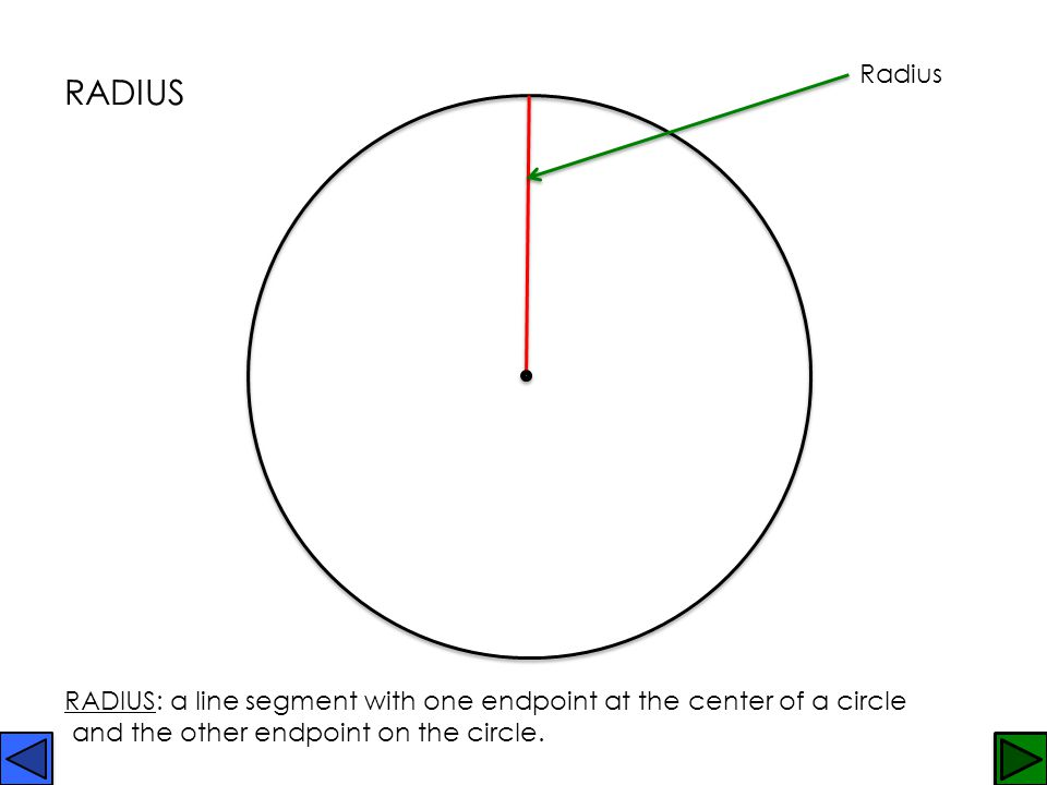 Radius RADIUS. RADIUS: a line segment with one endpoint at the center of a circle.