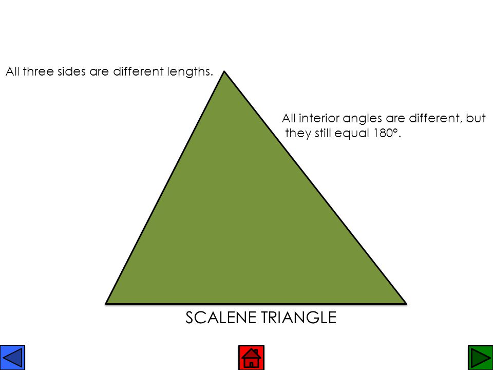 SCALENE TRIANGLE All three sides are different lengths.