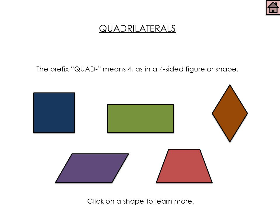 QUADRILATERALS The prefix QUAD- means 4, as in a 4-sided figure or shape.