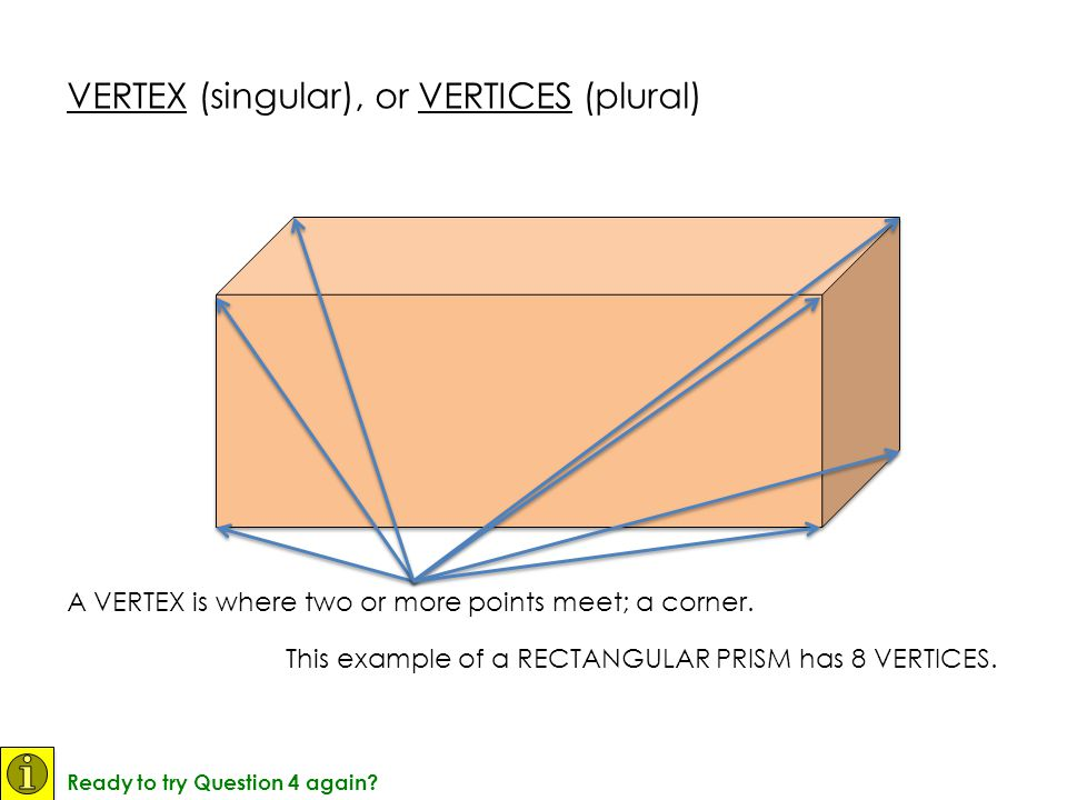VERTEX (singular), or VERTICES (plural)