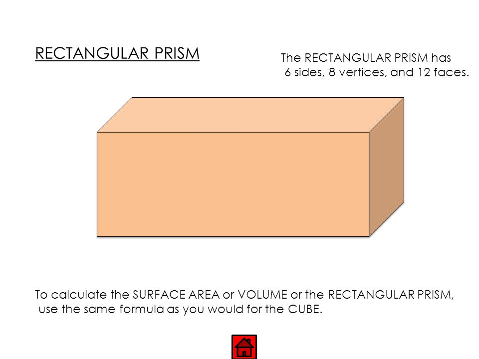 RECTANGULAR PRISM The RECTANGULAR PRISM has