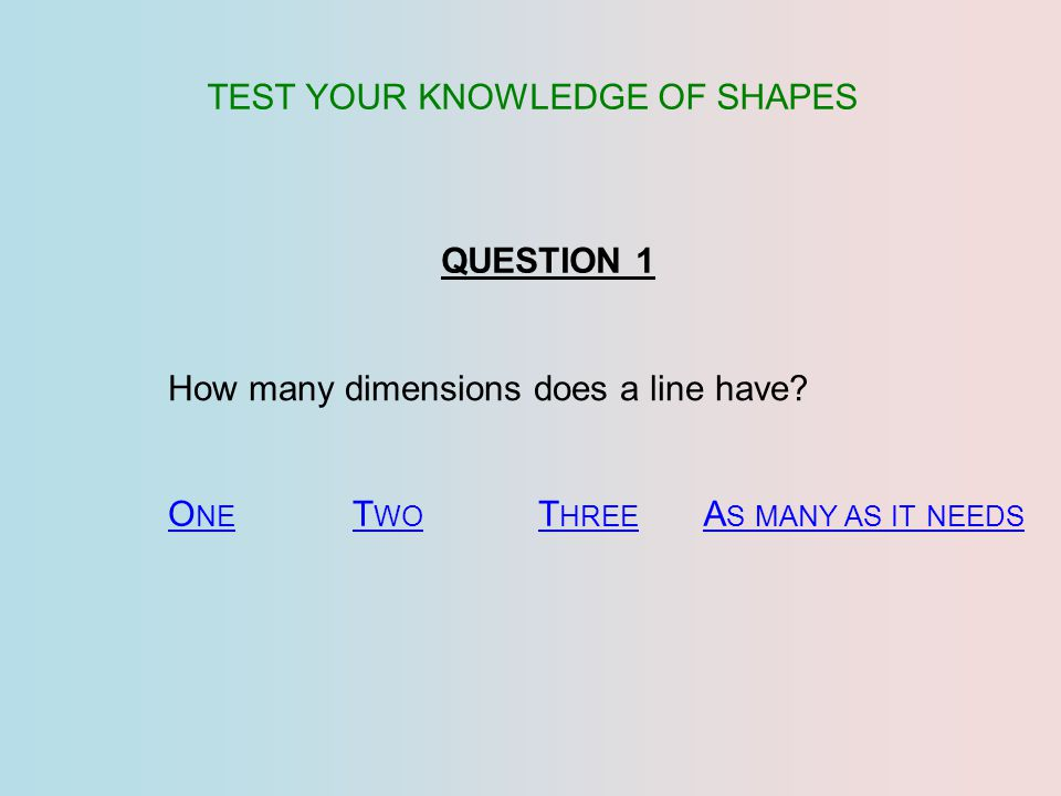 TEST YOUR KNOWLEDGE OF SHAPES