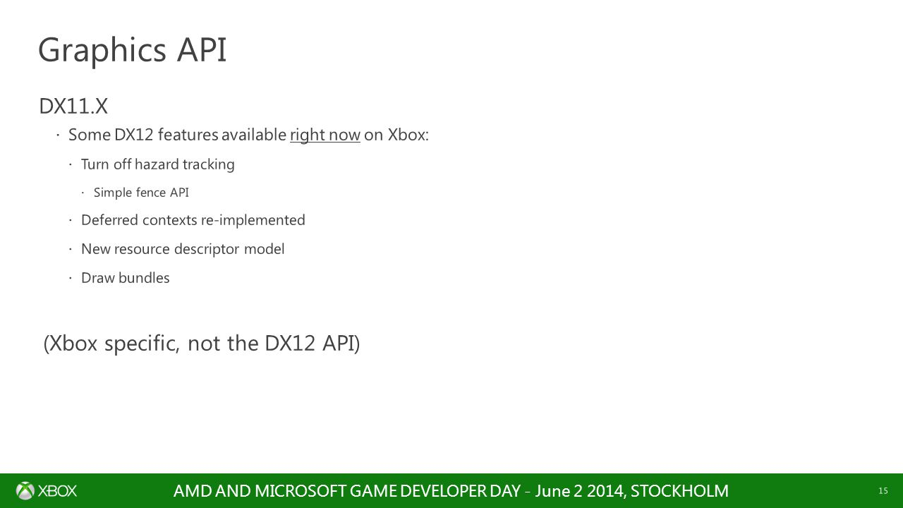 Graphics API DX11.X (Xbox specific, not the DX12 API)