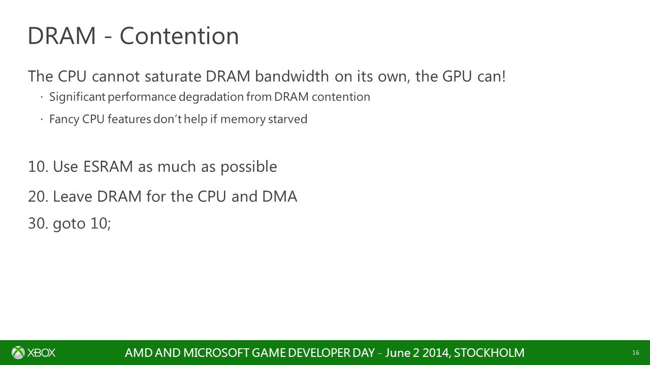 DRAM - Contention The CPU cannot saturate DRAM bandwidth on its own, the GPU can! Significant performance degradation from DRAM contention.