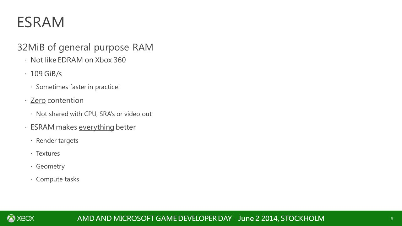 ESRAM 32MiB of general purpose RAM Not like EDRAM on Xbox 360