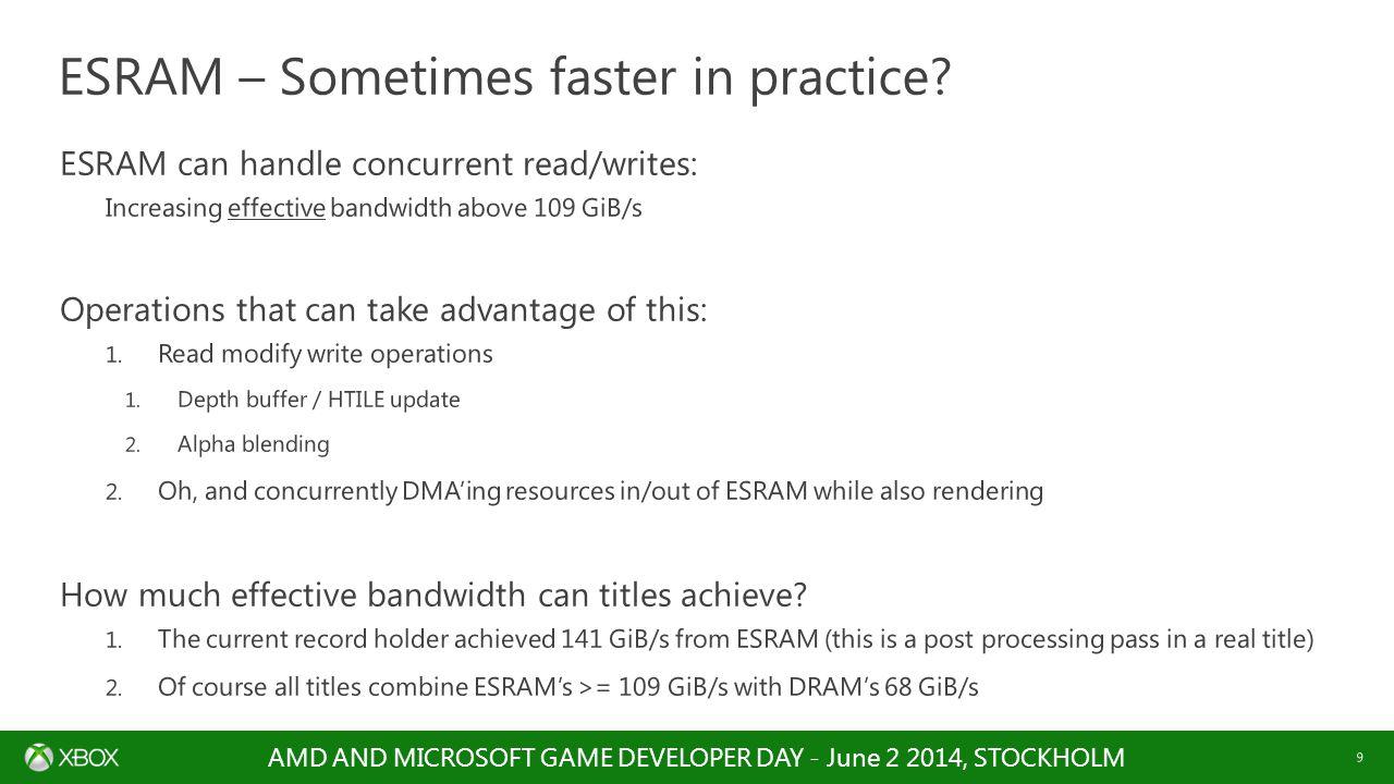 ESRAM – Sometimes faster in practice