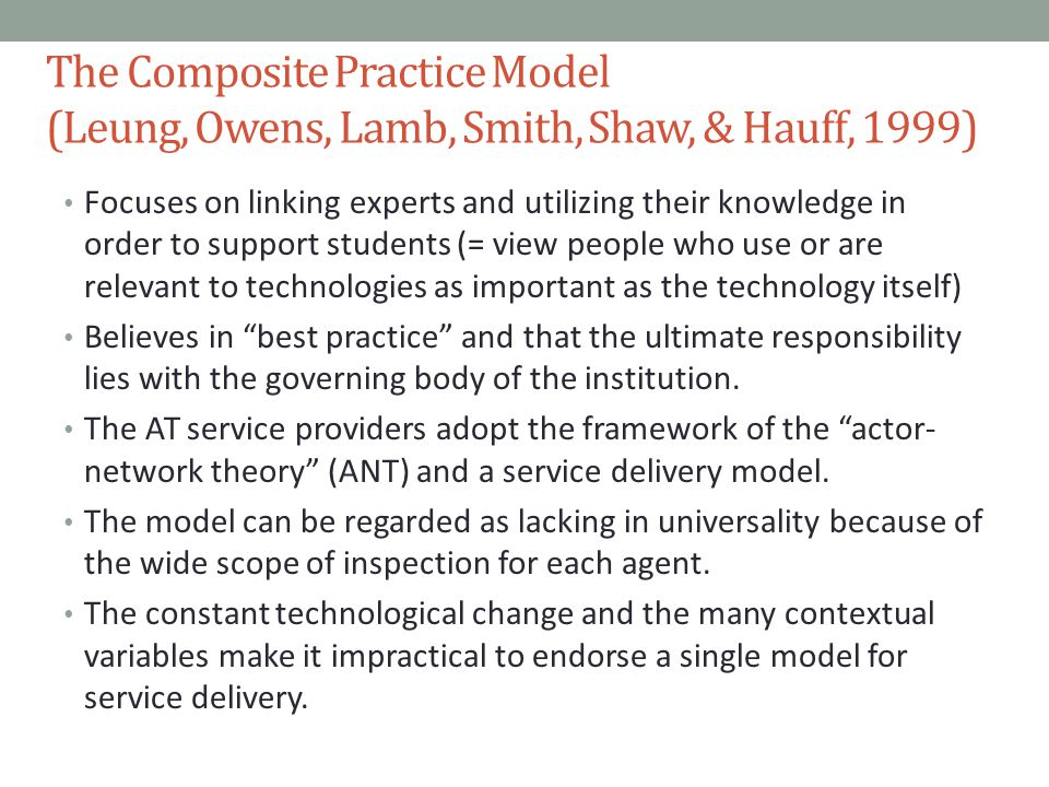 The Composite Practice Model (Leung, Owens, Lamb, Smith, Shaw, & Hauff, 1999)