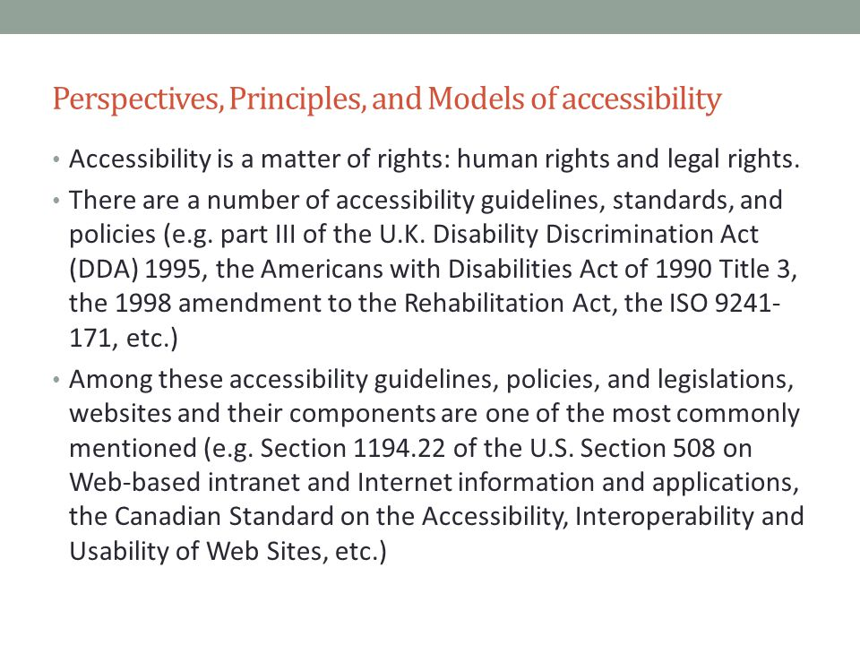 Perspectives, Principles, and Models of accessibility