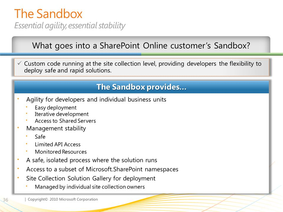 The Sandbox Essential agility, essential stability