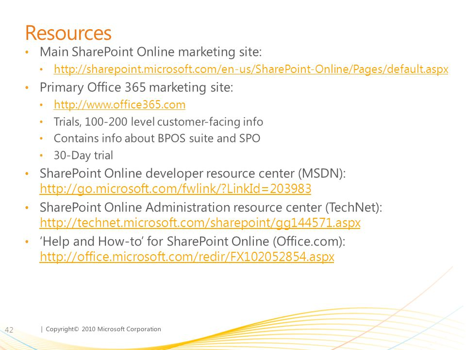 Resources Main SharePoint Online marketing site: