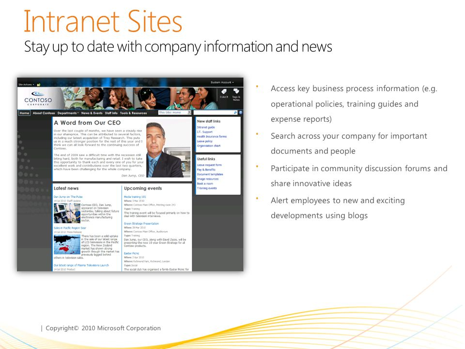 Intranet Sites Stay up to date with company information and news