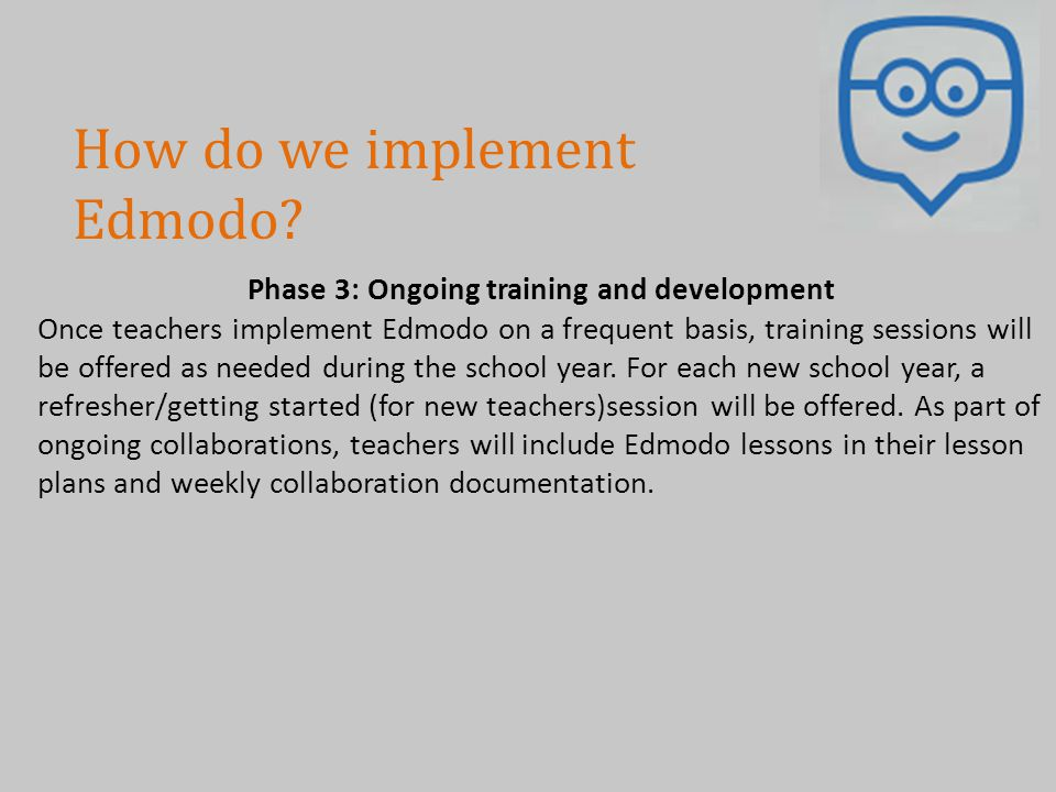Phase 3: Ongoing training and development