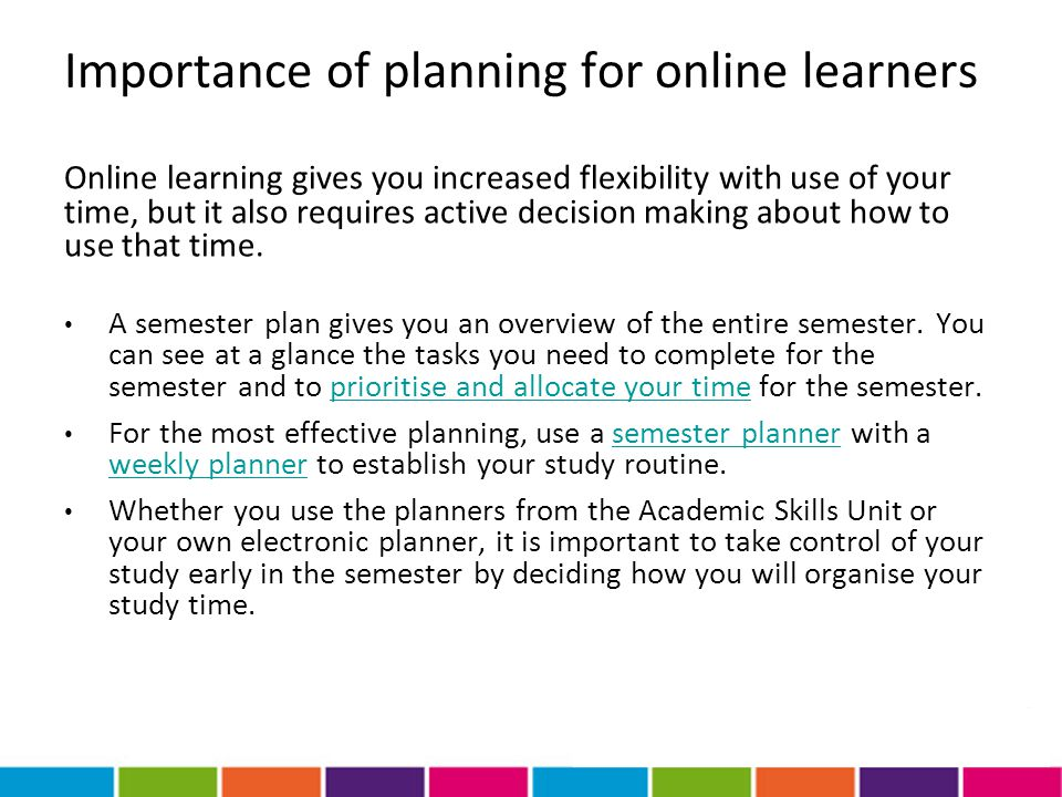 Importance of planning for online learners