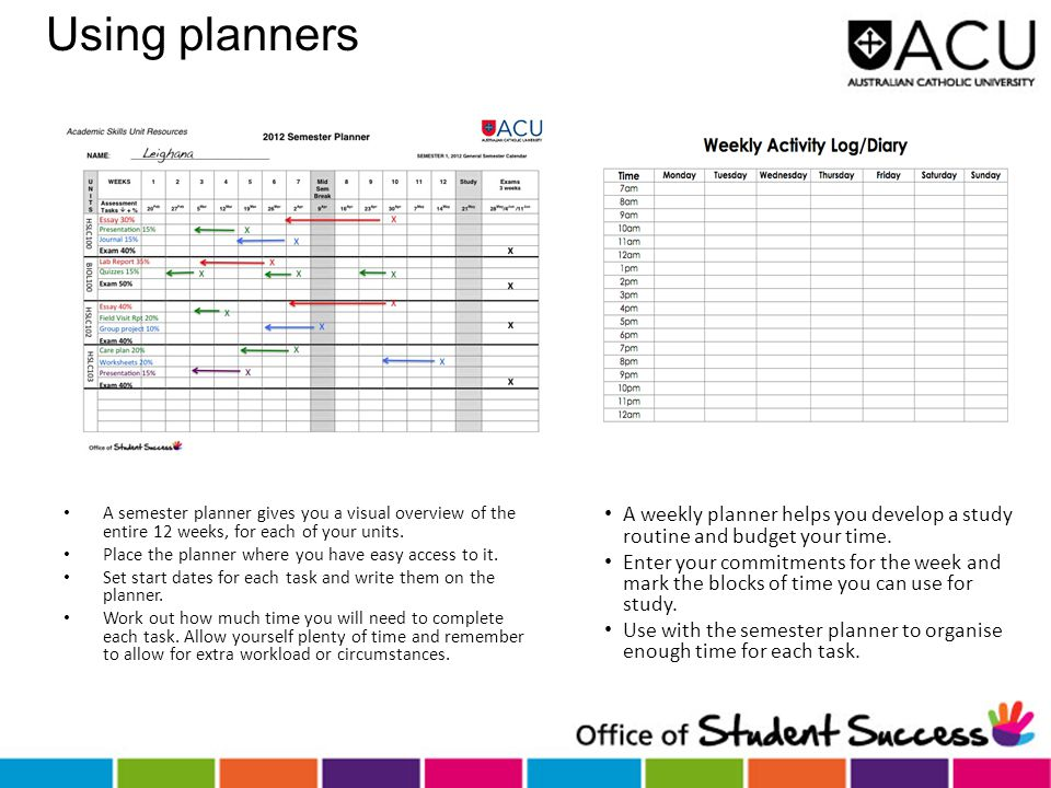 Using planners A semester planner gives you a visual overview of the entire 12 weeks, for each of your units.