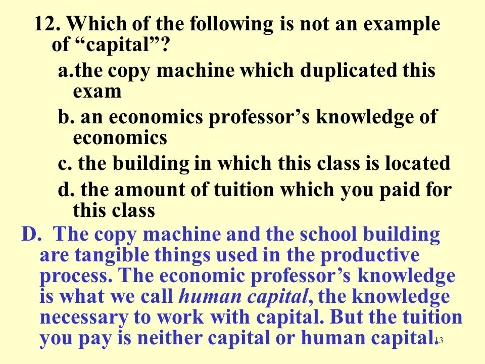 12. Which of the following is not an example of capital