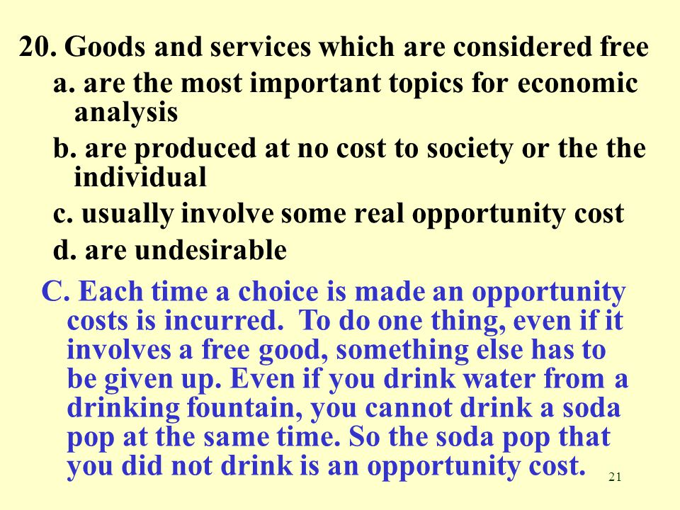 20. Goods and services which are considered free