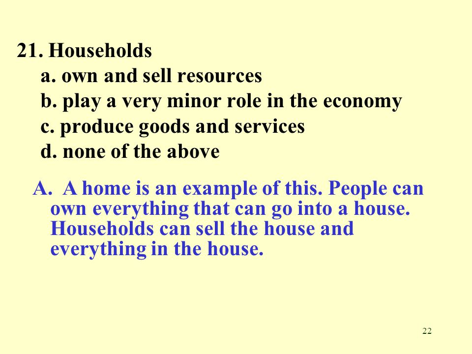 21. Households a. own and sell resources. b. play a very minor role in the economy. c. produce goods and services.