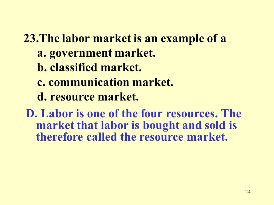 23.The labor market is an example of a