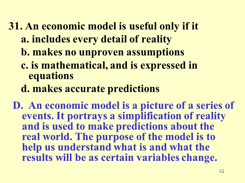 31. An economic model is useful only if it