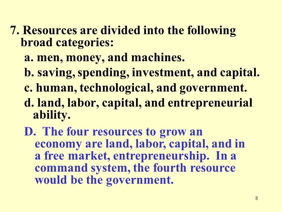 7. Resources are divided into the following broad categories: