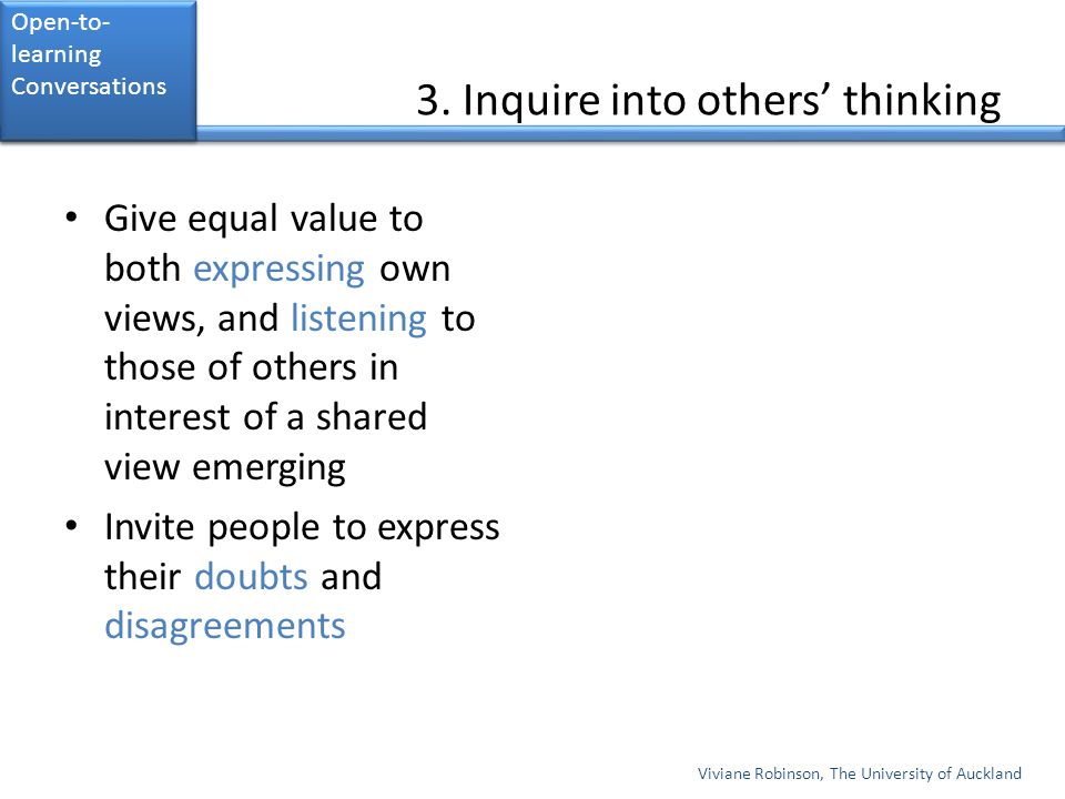 3. Inquire into others' thinking
