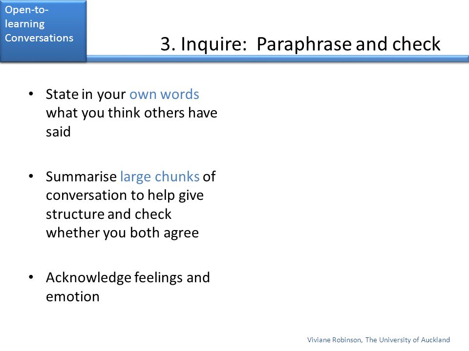 3. Inquire: Paraphrase and check