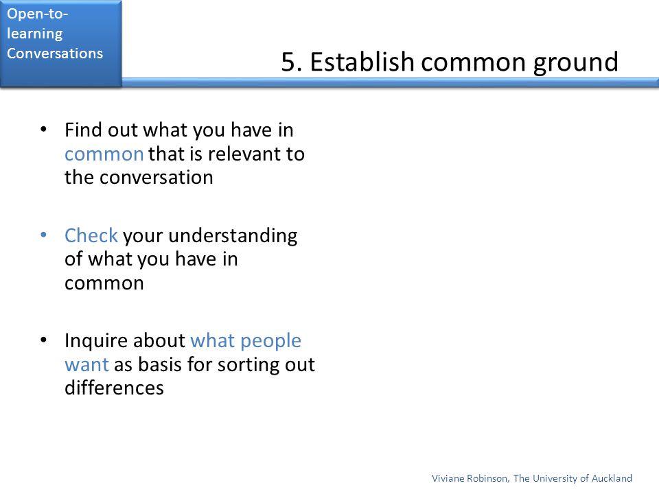 5. Establish common ground