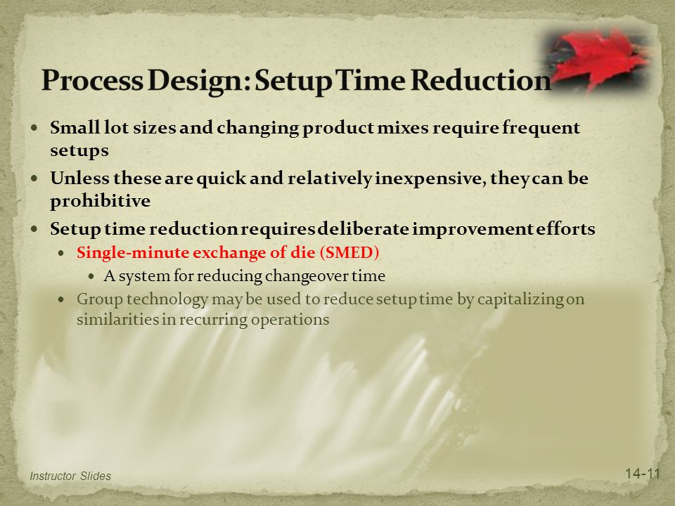Process Design: Setup Time Reduction