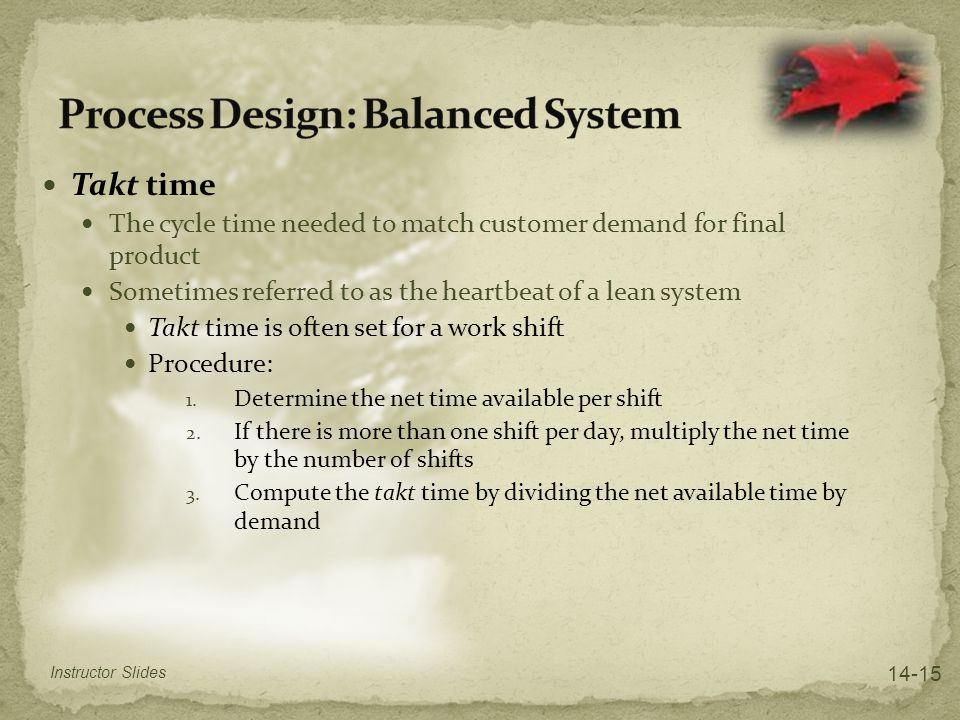Process Design: Balanced System