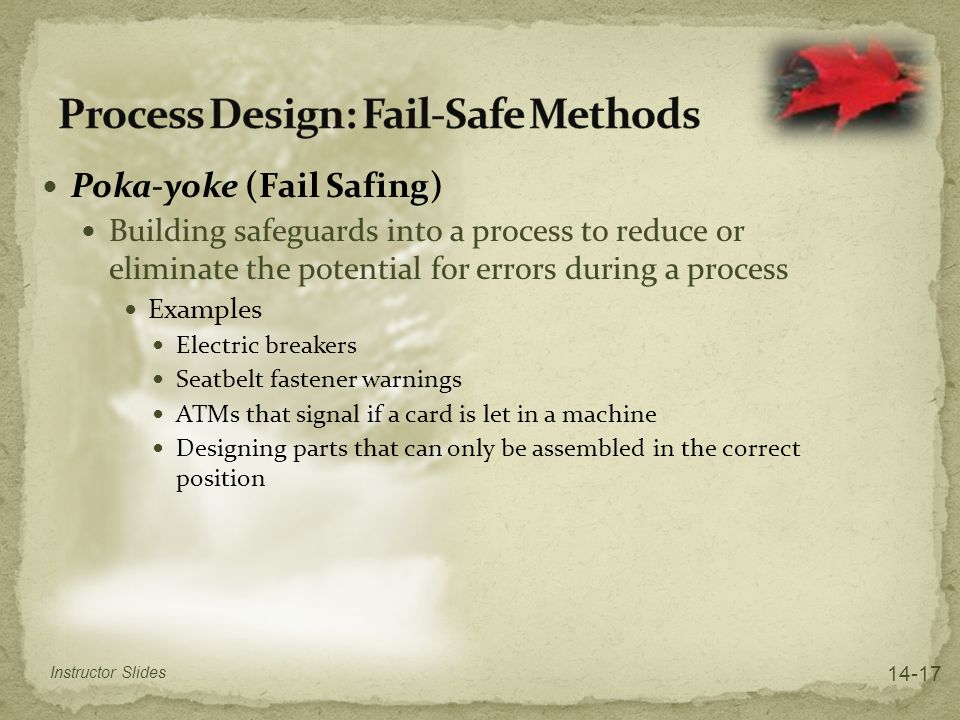 Process Design: Fail-Safe Methods