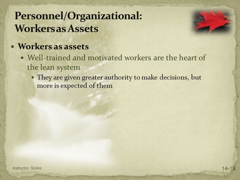 Personnel/Organizational: Workers as Assets