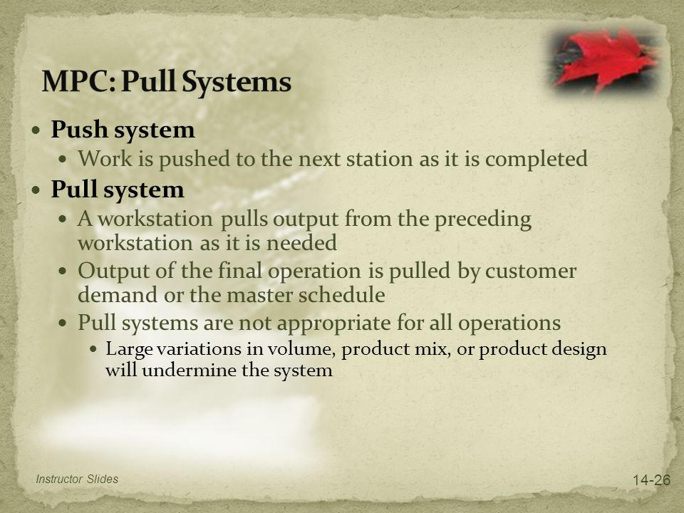 MPC: Pull Systems Push system Pull system