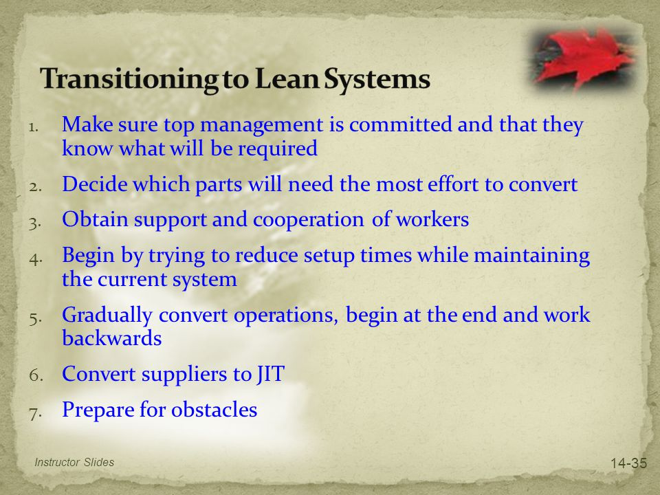 Transitioning to Lean Systems