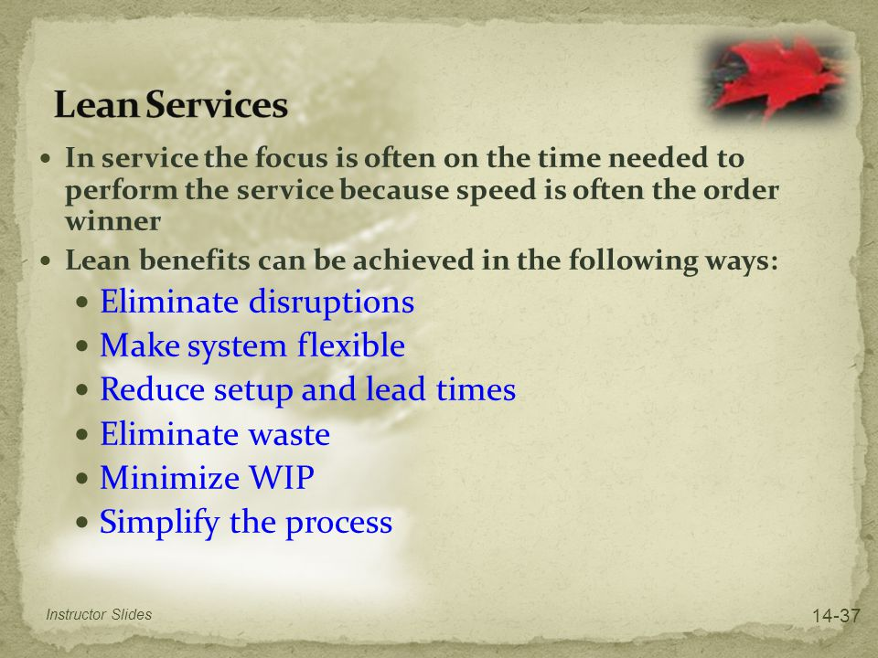 Lean Services Eliminate disruptions Make system flexible