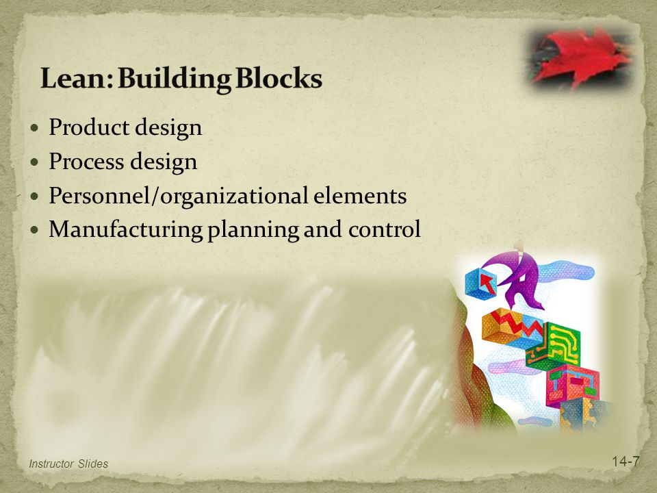 Lean: Building Blocks Product design Process design