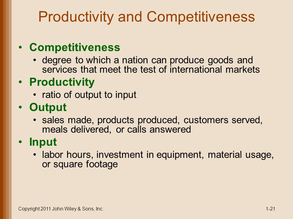 Productivity and Competitiveness