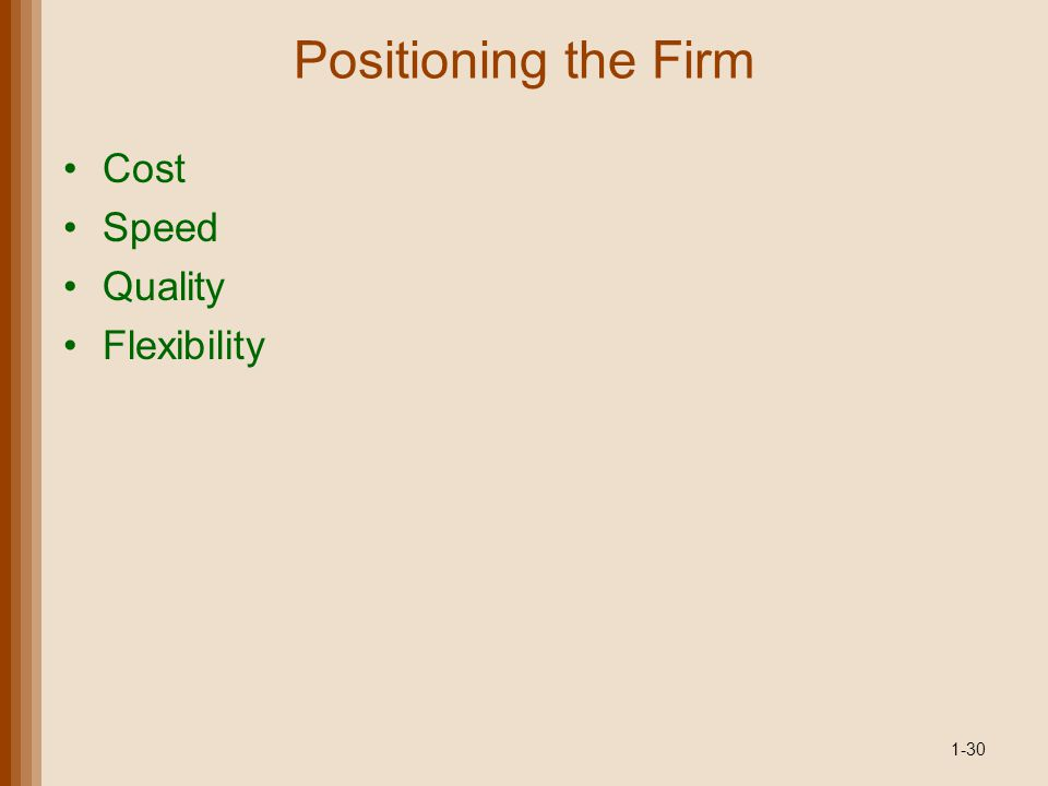 Positioning the Firm Cost Speed Quality Flexibility