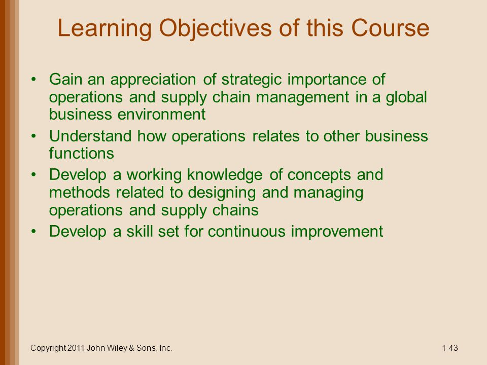 Learning Objectives of this Course