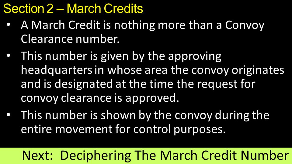 Section 2 – March Credits
