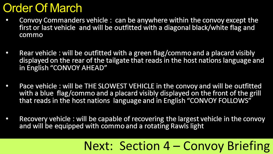 Next: Section 4 – Convoy Briefing