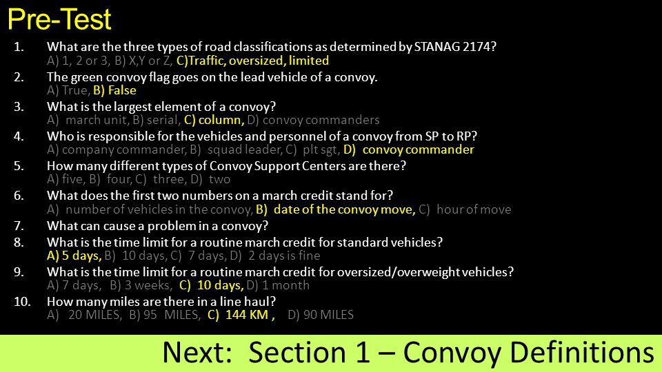 Next: Section 1 – Convoy Definitions