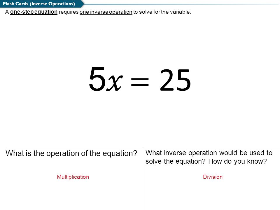 5x = 25 What is the operation of the equation