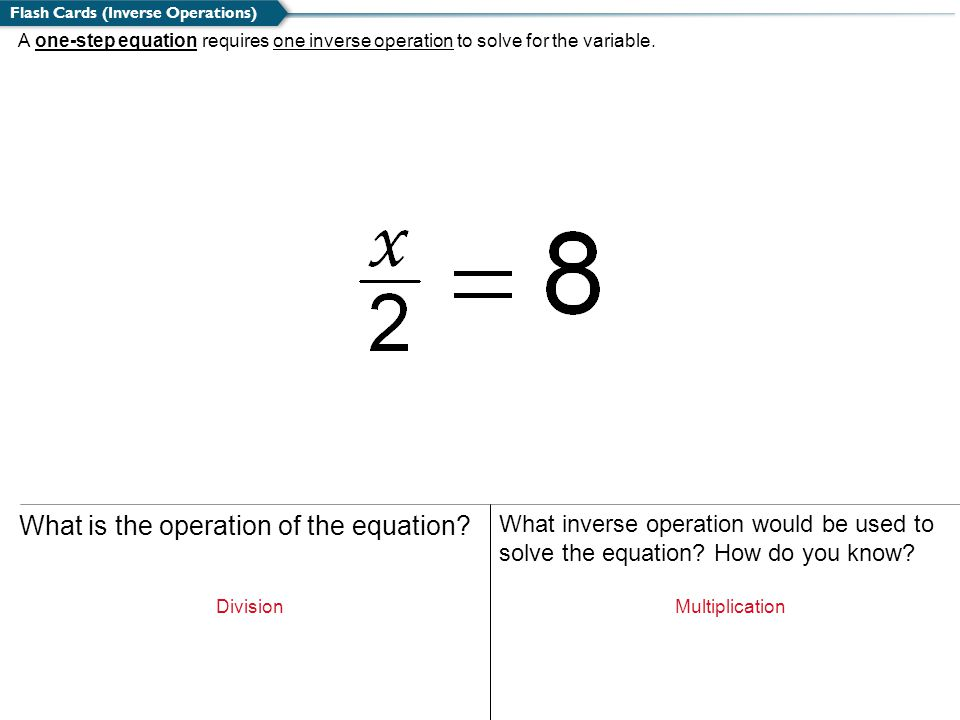 What is the operation of the equation