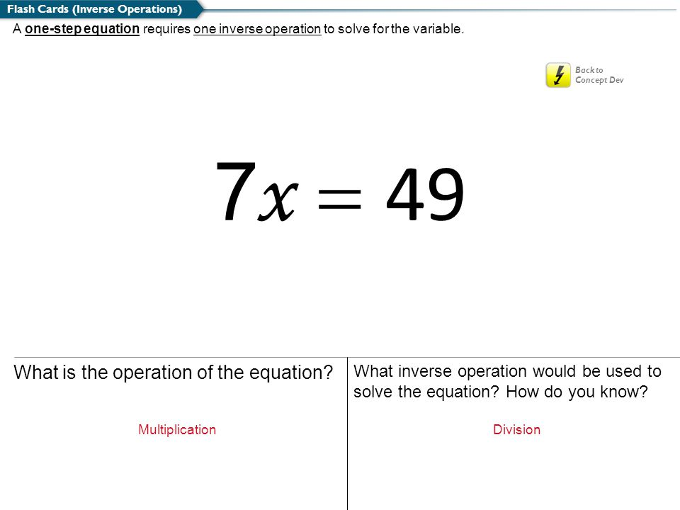 7x = 49 What is the operation of the equation