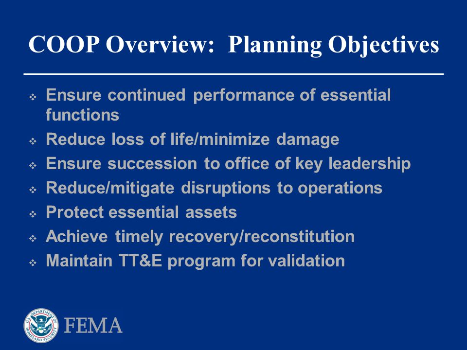 COOP Overview: Planning Objectives