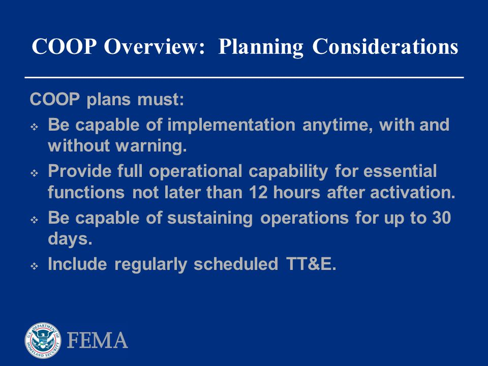 COOP Overview: Planning Considerations