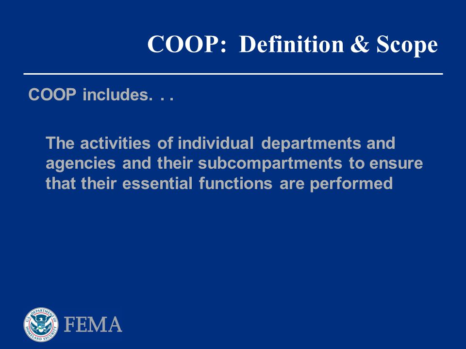 COOP: Definition & Scope