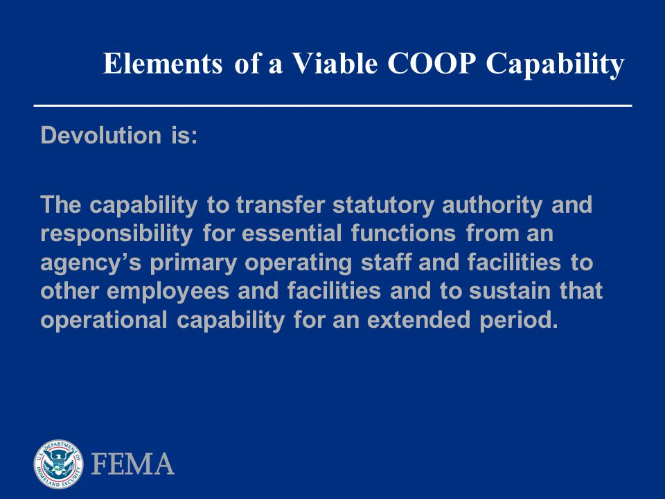 Elements of a Viable COOP Capability